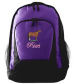 Quarter Horse Backpack Font shown on bag is EDWARD SCRIPT