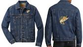 Bass Fishing Denim Jacket Front Left Chest & Back