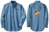 Bass Fishing Denim Shirt Left Chest & Back