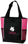 Bull Terrier Tote Font shown on bag is Harringtown