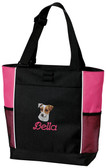 Jack Russell Panel Tote Font shown on bag is BEVERLY