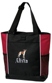 Italian Greyhound Panel Tote Font shown on bag is BOING
