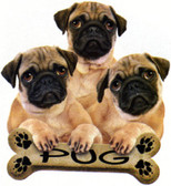 Pug T-shirt - Imprinted Three Pugs