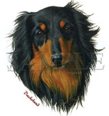 Dachshund T-shirt - Imprinted Long Haired Dachshund Head