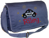 Personalized Boy Police Car Diaper Bag Font shown on diaper bag is COWBOY