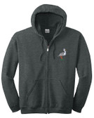 Heron Full Zip Hooded Sweatshirt Personalized  - Embroidered Left Chest