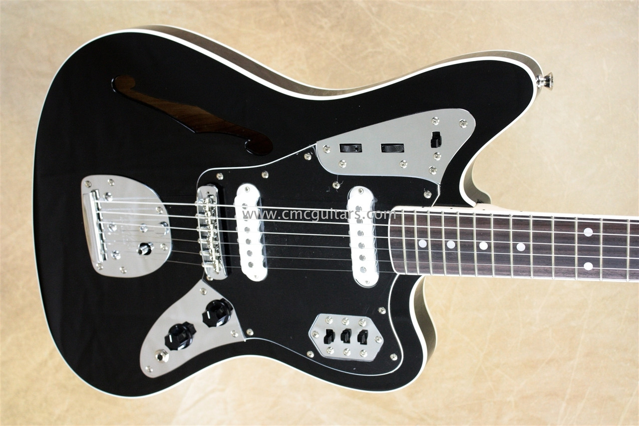 fender special edition thinline jaguar black semi-hollow body guitar