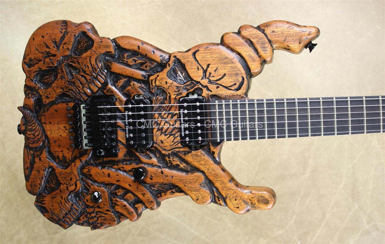 jackson custom shop usa sl2h mike learn carved skulls guitar cmc custom metal classic guitars. Black Bedroom Furniture Sets. Home Design Ideas
