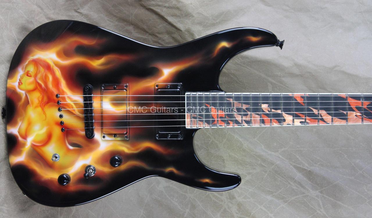 jackson usa custom shop sl2ht soloist with daneen custom fire girl graphic electric guitar cmc. Black Bedroom Furniture Sets. Home Design Ideas
