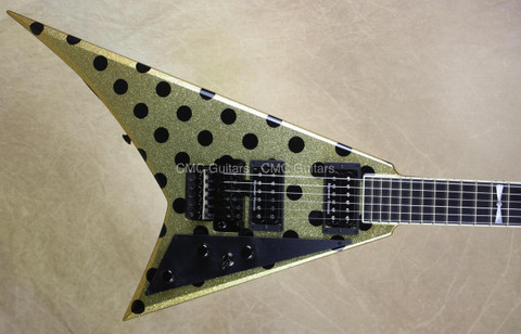 Jackson USA Custom Shop RR1 Randy Rhoads Gold Sparkle Black Polka Dot Guitar