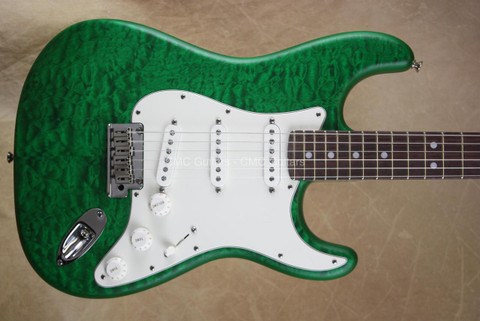 Fender Custom Shop Strat Deluxe Stratocaster RW Trans Emerald Green Satin Guitar