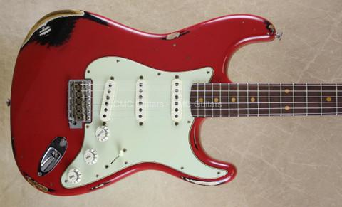 Fender Custom Shop NAMM Strat '62 Heavy Relic Stratocaster Dakota Red Over Black