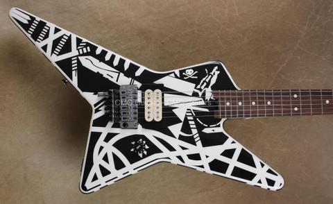EVH Stripe Series Star Black and White 1980 Tour Guitar