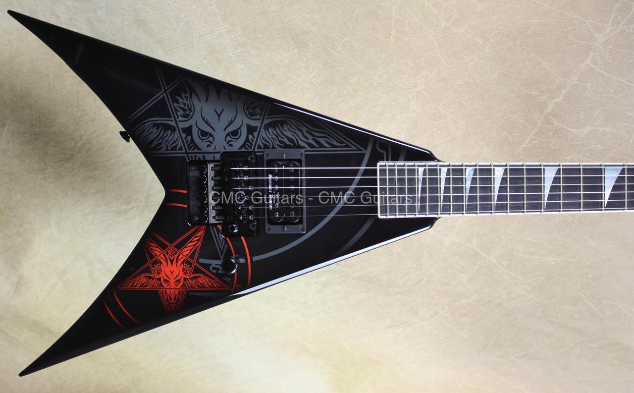 827d9f71 Jackson USA Custom Shop KV2 King V 1 Hum Baphomet Black Guitar - CMC ...