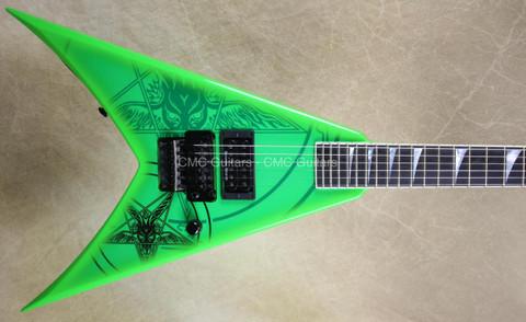 Jackson USA Custom Shop KV2 King V 1 Hum Baphomet Kawasbi Green Guitar