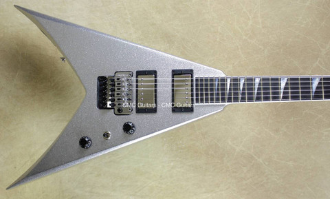Jackson USA Custom Shop KV2 King V Silver Sparkle Guitar
