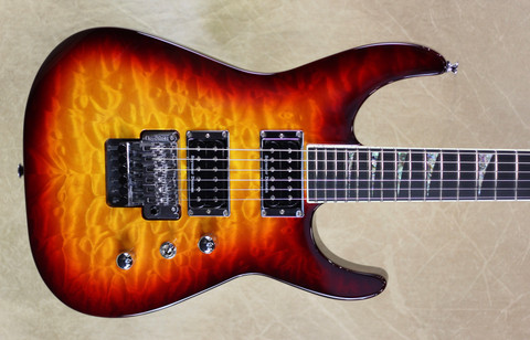 Jackson USA Custom Shop SL2H-MAHQ Maple Speed Neck Soloist Burnt Cherry Burst Maple Neck Guitar