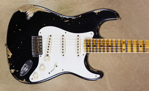 Fender Custom Shop 57 Strat Heavy Relic Stratocaster Black Guitar