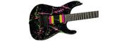 Jackson USA Custom Shop Masterbuilt SL2H Pink and Green Splatter over Black Guitar