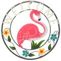 "22"" Round Metal Welcome Flamingo"