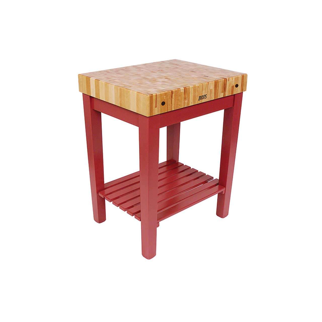 Chefs Block 30 Quot X24 Quot X4 Quot Barn Red Base With Shelf John