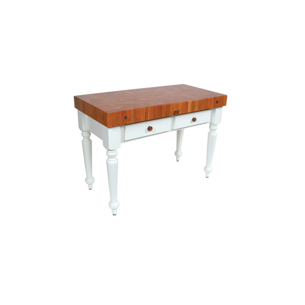 "Cherry Rustica Table with Alabaster Base - 48""x 24""x 4"" - John Boos"