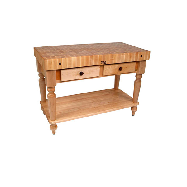 "Rustica Kitchen Island - 48""x 24""x 4"" - with Shelf - John Boos"