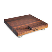 "Walnut Edge Grain Cheese Board - 12""x 12""x 1-1/2"" - with Knife Slot and Stainless Steel Feet - John Boos"