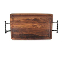 "Wiltshire 15"" x 24"" Cutting Board - Walnut (w/ Twisted Ball Handles)"