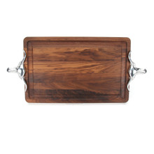 "Wiltshire 15"" x 24"" Cutting Board - Walnut (w/ Long Horn Handles)"
