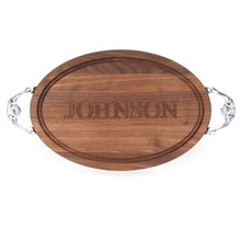 "Carved Name 12"" x 18"" Oval Walnut Cutting Board w/Victorian Handles and Laser Engraved Signatures"