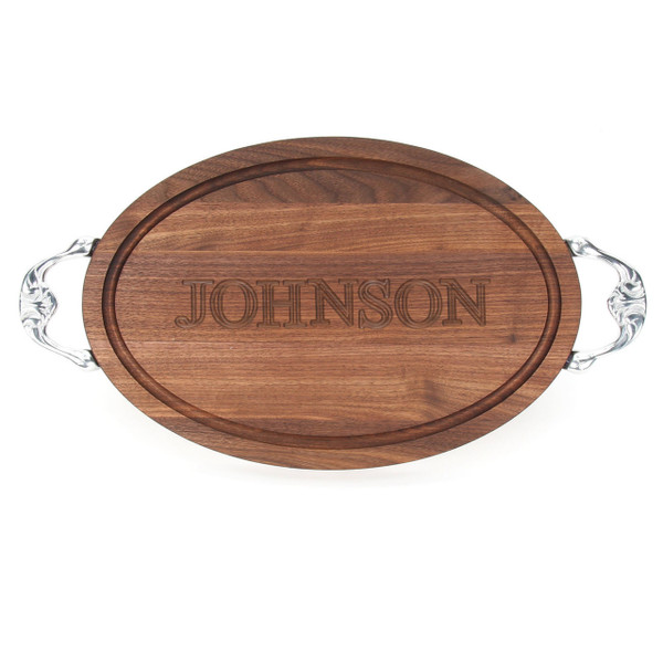 """Carved Name 12"""" x 18"""" Oval Walnut Cutting Board w/Victorian Handles and Laser Engraved Signatures"""