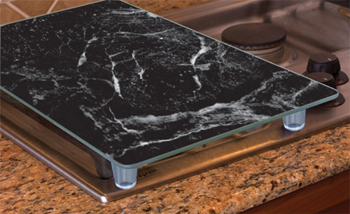 """Tempered Glass Instant Counter, 20 1/2"""" x 11 3/4"""" Black Marble"""