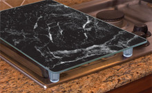 "Tempered Glass Instant Counter, 20 1/2"" x 11 3/4"" Black Marble"