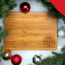 "Bamboo Merry Christmas Cutting Board, 8 1/4"" x 11 1/2"" x 3/4"""