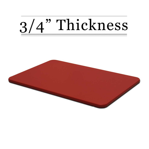 "3/4"" Thick Red Poly Cutting Board"