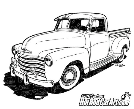 Chevrolet Pickup Line Art on 1955 chevy panel wagon