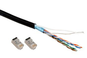 Shielded twisted pair (STP) outdoor CAT5 Cable 10 metres with drain wire and terminated with shielded connectors
