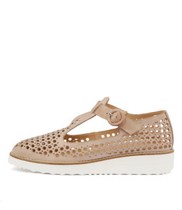OSHLEY Flatforms in Nude Leather