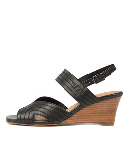 UJA Wedge Sandals in Black Leather
