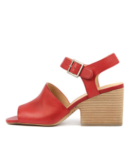 BRIANE Heeled Sandals in Red Leather