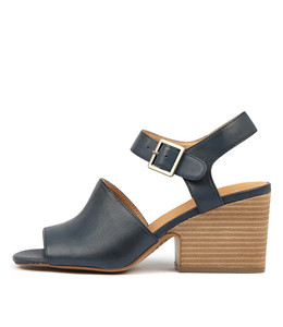 BRIANE Heeled Sandals in Navy Leather