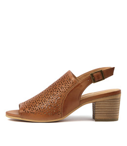 BLANE Heeled Sandals in Dark Tan Leather