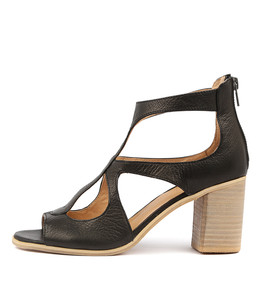 WINFOLM Heeled Sandals in Black Leather