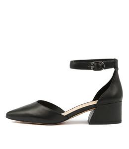 OLIVINE Mid Heels in Black Leather