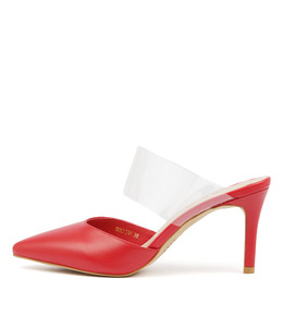 BOLLING High Heels in Red Leather/ Clear Vinylite