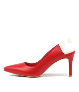 BROGAN High Heels in Red Leather/ Clear Vinylite