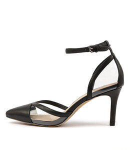 BRENNON High Heels in Black Leather/ Clear Vinylite