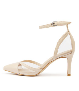 BRENNON High Heels in Nude Leather/ Clear Vinylite