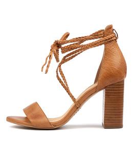 YAHYA Heeled Sandals in Dark Tan Leather